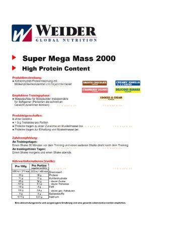 Weider Mega Mass 2000, Vanille, 1,5kg Dose - 4